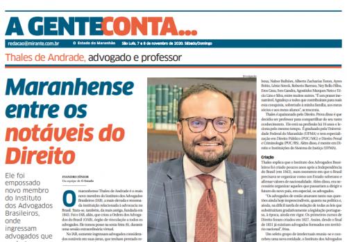 Prof. Thales de Andrade é destaque no jornal O Estado do Maranhão